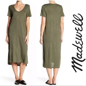Madewell Green Jersey Sandwashed Tee Midi Dress